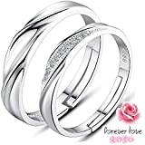 SOEKAVIA ペアリング カップルリング 婚約指輪 純銀製指輪 オープンリング フリーサイズ ダイヤモンド付き 2個セット ペアリング専用の綺麗なボックス(純銀製)
