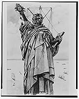1886フォトConstruction上の自由の女神] : re-constructing像のリバティ島の島