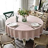 テーブルクロス 食卓カバー テーブルカバー  円形テーブルクロス 耐久性 厚手 水洗い 防水防油 撥水  シンプル モダン (Color : Pink, Size : 120cm)