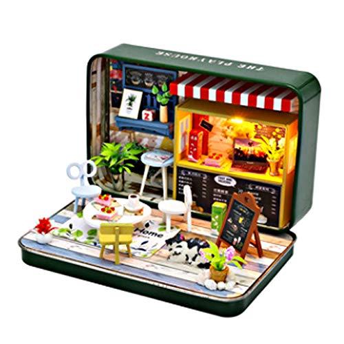 [リトルスワロー] ミニチュア ドールハウス DIY ボックス シアター BOX 缶 LED付き インテリア 雑貨 模型 建築模型 かわいい 3d ナチュラル 家 プレゼント ジオラマ 手作り ピアノ コーヒー お菓子 (スイーツ缶)