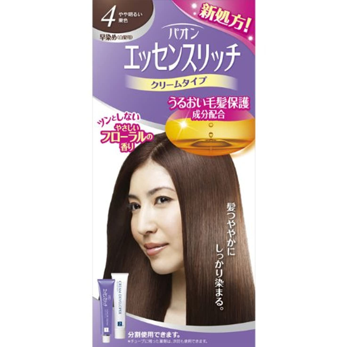 名誉ある酸っぱい確実ヘンケルライオンコスメティックス パオン エッセンスリッチ クリームタイプ 4 やや明るい栗色 40g+40g (医薬部外品)