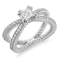 0.85カラット(CTW18Kホワイトゴールドラウンド&プリンセスカットダイヤモンドブライダル婚約リング