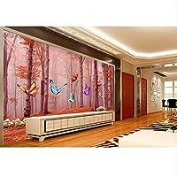 Wuyyii 居間の景色の写真の壁の壁画のための注文3D壁紙秋の森蝶の壁紙-280X200Cm