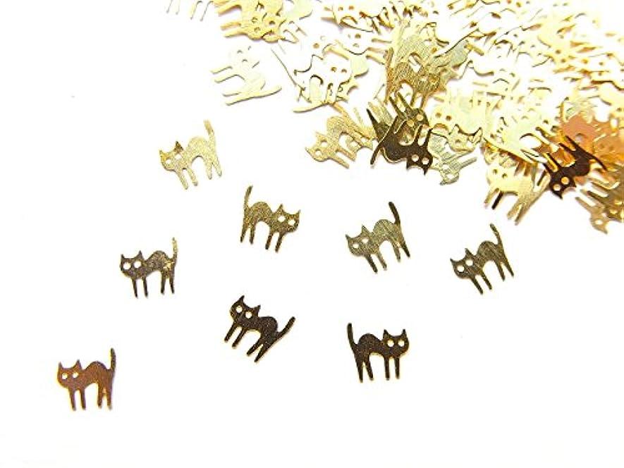 愛する読書をする愛する【jewel】ug23 薄型ゴールド メタルパーツ ネコ 猫B 10個入り ネイルアートパーツ レジンパーツ