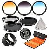 レンズフィルター 58MM K&F Concept® 58MM NDフィルター ND2 ND4 ND8 カメラフィルター 減光フィルター 光量調節用+グラデーションフィルターキット グレー/ブルー/オレンジ(3枚)色彩効果用Canon 600D EOS M M2 700D 100D 1100D 1200D 650Dデジタル一眼レフカメラ専用+クリーニングクロス+花形レンズフード+レンズキャップ+フィルターケース