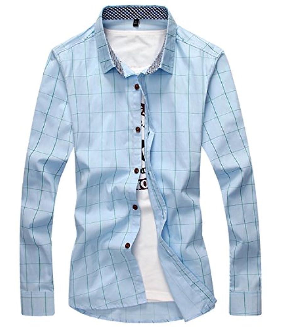 保険品スピン[スゴフィ]SGFY ドレスシャツ メンズ 長袖 スリム ビジネス カジュアル シンプル おしゃれ 襟付き カッターシャツ フィット チェック柄 (2XL, スカイブルー)