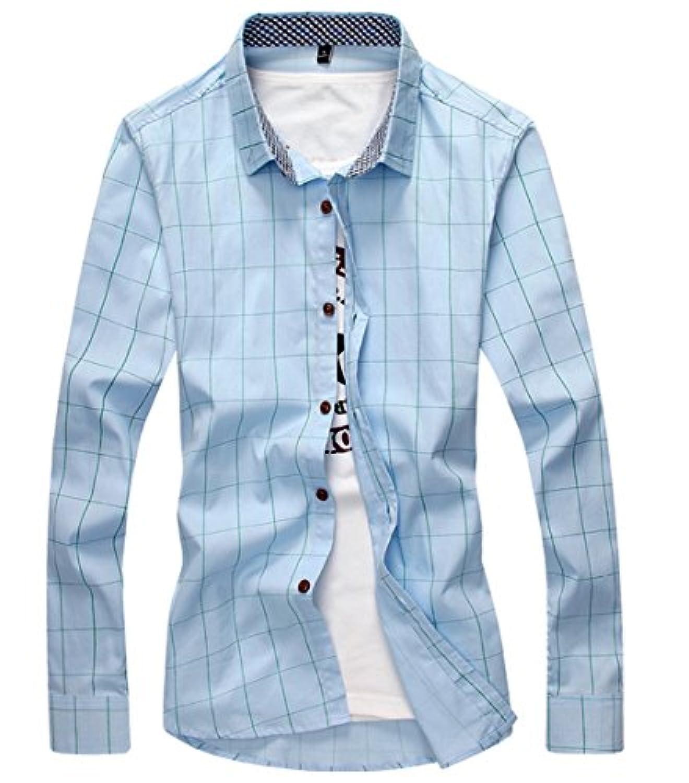 [スゴフィ]SGFY ドレスシャツ メンズ 長袖 スリム ビジネス カジュアル シンプル おしゃれ 襟付き カッターシャツ フィット チェック柄 (3XL, スカイブルー)