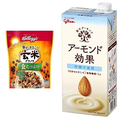 【セット買い】ケロッグ 玄米グラノラ 香ばしきなこ 400gx6袋 + グリコ アーモンド効果 砂糖不使用 1000ml×6本 常温保存可能