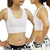 ハーフタンクトップ型 スポーツブラ ナベシャツ 白 黒 肌 3色 3段フック調整機能 an-e XL 白