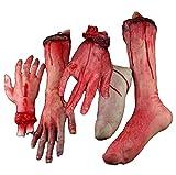 最恐体験! 恐怖 切断 手足 5個 & 指を貫通する釘 セット / ハロウィン 文化祭 クリスマス コスプレ ジョーク グッズ ホラーグッズ
