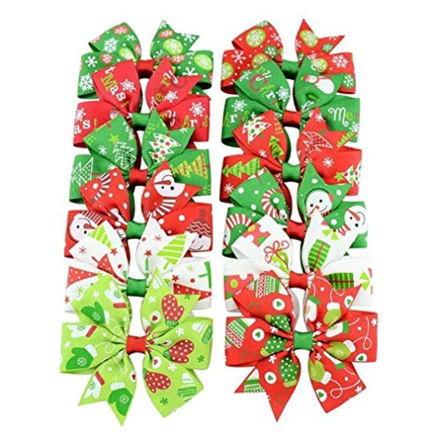 不毛レベル月曜HPYOD HOME 蝶ネクタイ女の赤ちゃんかわいいヘアピンクリスマスレインボーカラーリボンクリスマスプレゼント(ランダムカラー)12PCS