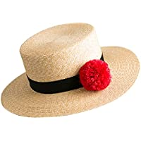 Janetshats Boater Hat Flat Top Straw Hats For Women Cute Pom Pom Trim