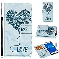 Abtory Huawei Mate 10 Pro Wallet ケース, Wrist Strap Embossed Heart ケース カバー 手帳型 レザー 財布型 カードポケット スタンド機能 マグネットケース for Huawei Mate 10 Pro Blue