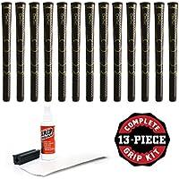Winn dri-tac標準ブラックゴルフグリップキットwithテープSolventバイスクランプ(13 Piece)