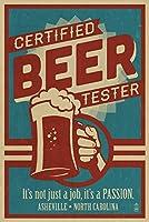 Asheville、ノースカロライナ州–認定ビールテスター 24 x 36 Signed Art Print LANT-67933-710