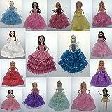 ETbotu ウェディングドレス ベール付き イブニングパーティー プリンセスガウンドレス 30cm バービー人形 子供へのギフトに最適 ZLH-DHW-DS-1001-07