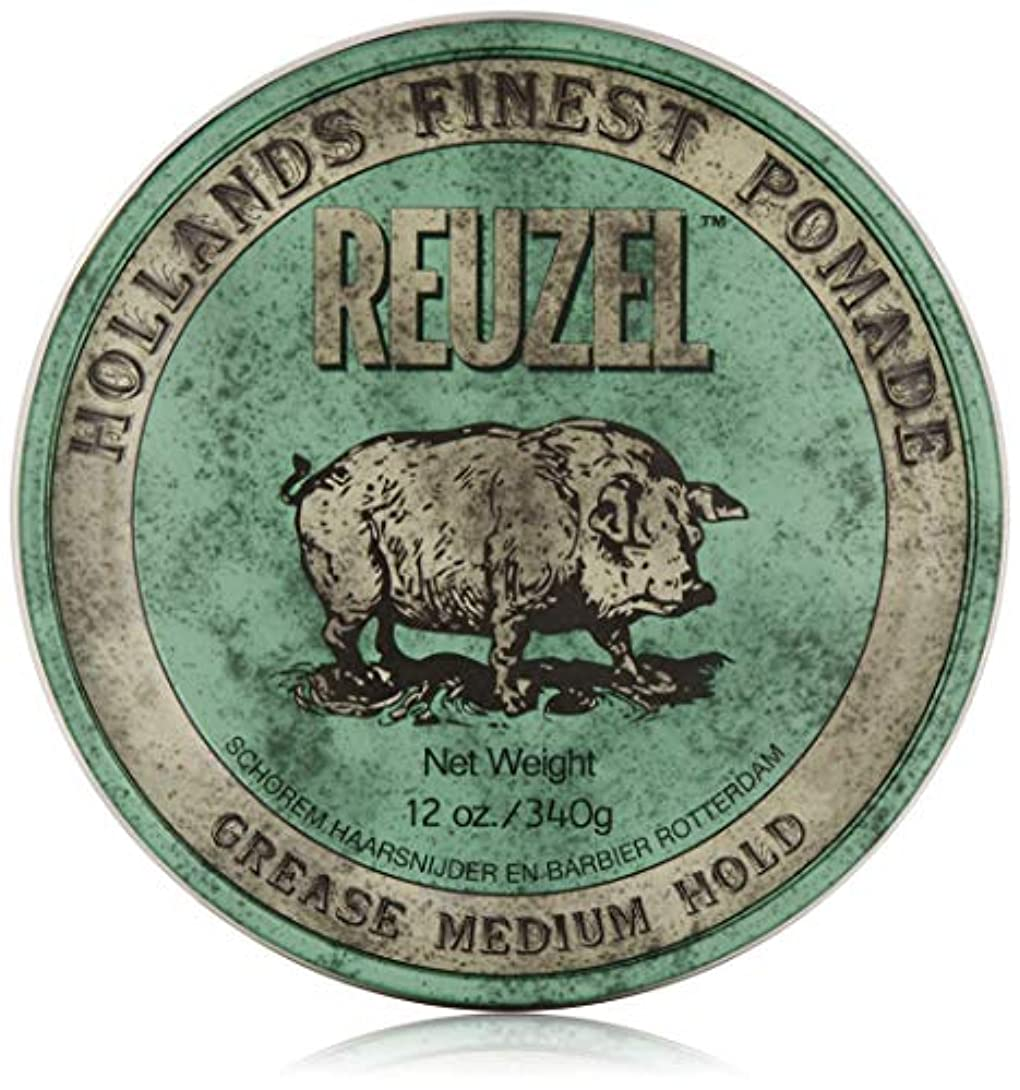 立方体北床を掃除するREUZEL Grease Medium Hold Pomade Hog, Green, 12 oz. by REUZEL