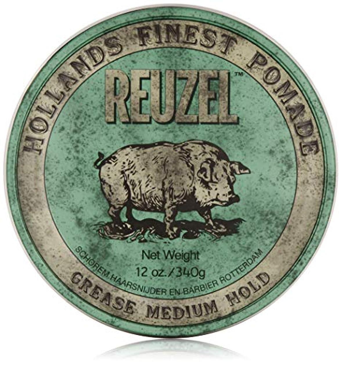救急車適度に世界記録のギネスブックREUZEL Grease Medium Hold Pomade Hog, Green, 12 oz. by REUZEL