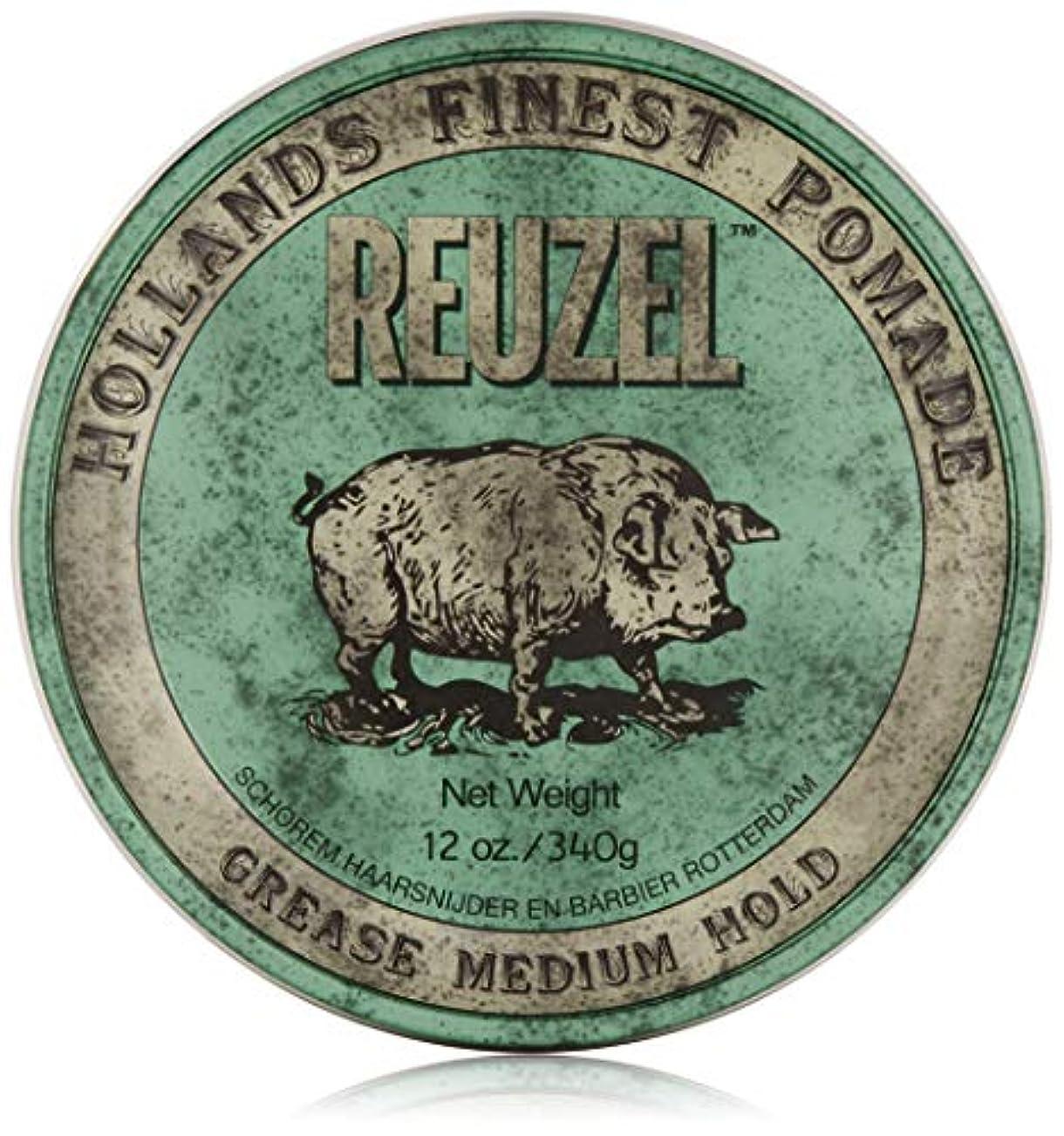 漏れ王室絶縁するREUZEL Grease Medium Hold Pomade Hog, Green, 12 oz. by REUZEL