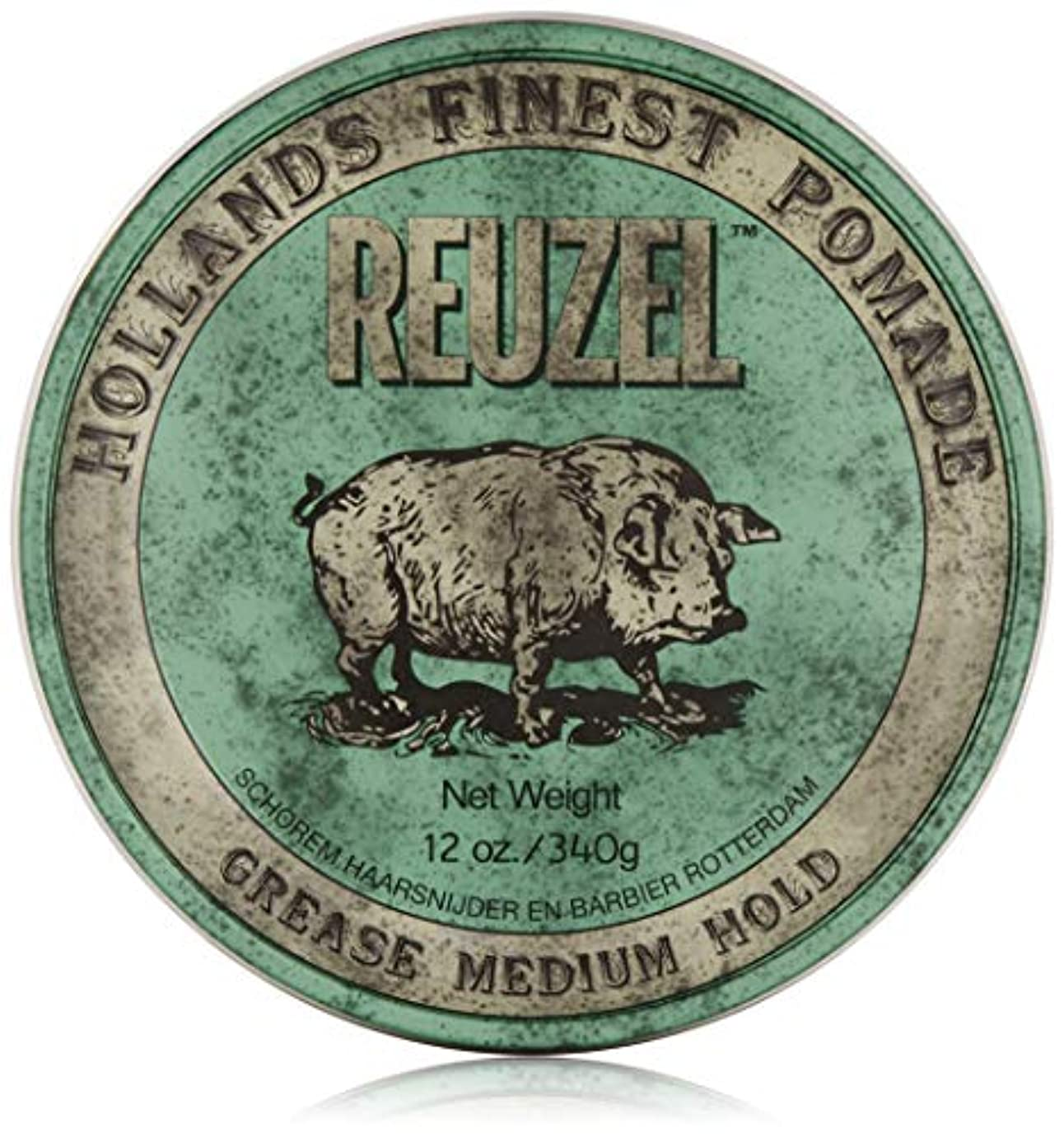 歌モットー嫉妬REUZEL Grease Medium Hold Pomade Hog, Green, 12 oz. by REUZEL