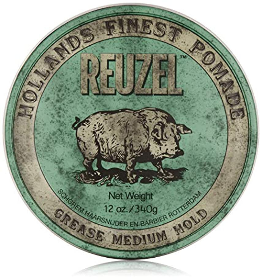 シャベルファン有彩色のREUZEL Grease Medium Hold Pomade Hog, Green, 12 oz. by REUZEL