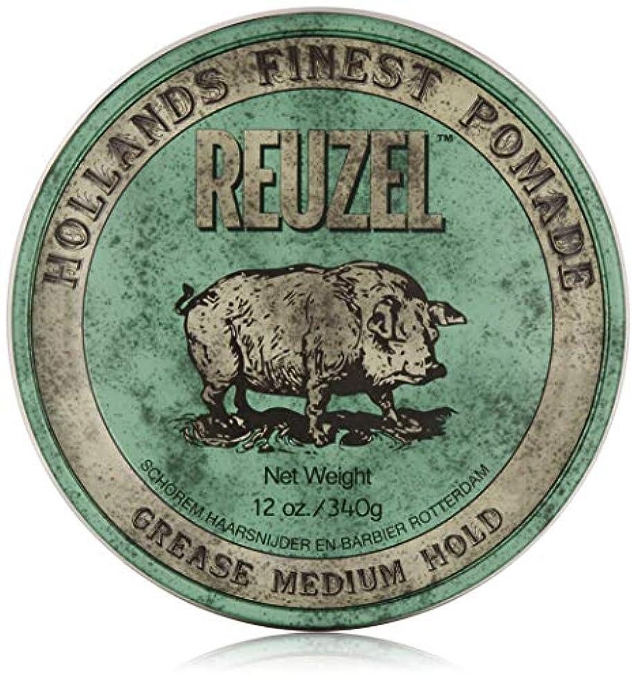 繁雑性能マットREUZEL Grease Medium Hold Pomade Hog, Green, 12 oz. by REUZEL