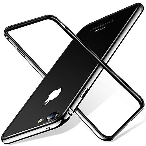 TORRAS iPhone 8 ケース / iPhone 7 ケース バンパー【アルミ 二重保護】 衝撃吸収 軽量 装着簡単 電波影響無し 高級感 フィット感抜群 (光沢ブラック)