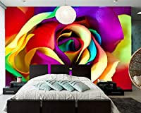 Yosot バラのクローズアップの花の写真の壁紙、リビングルームのテレビの背景ソファウォールベッドルームレストランバー 3d の壁画がある。-400cmx280cm