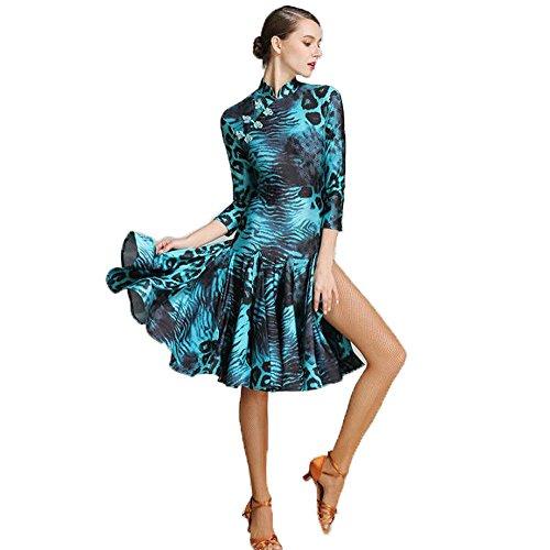 新入荷 社交ダンスドレス ラテンドレス モダンドレス ロングスカート ダンスウエア 競技 デモ ダンス衣装 ワンピース オーダーメード 全2色 (ブルー, M)