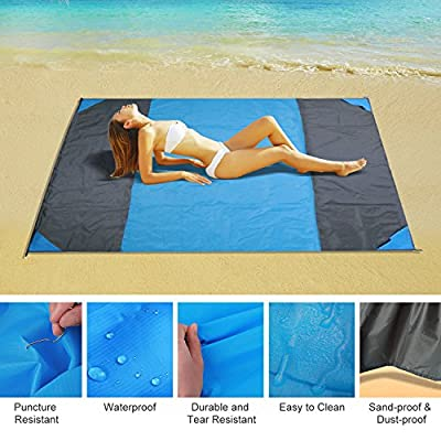 Beach Blanket,Hicool Lightweight Portable Quick Drying and Easy Cleaning Waterproof Blenkets for Travel & Festivals & Hiking - 6 Stakes Oversized 9' x 7'