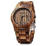 Bewell 木製腕時計 メンズ ウッドウォッチ 日本製 クオーツ アナログ表示 日付 軽量防水 夜光 男性用 プレゼント (ゼブラウッド)