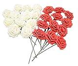 バラ 造花 50個 茎付き 8cm セット 手作り アレンジメント 結婚式 パーティー お祝い に (オフホワイト×赤)