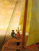 手書き-キャンバスの油絵 - 美術大学の先生直筆 - On Board a Sailing Ship ロマンチック 船 Caspar David Friedrich 絵画 洋画 複製画 ウォールアートデコレーション -サイズ08
