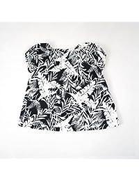べべ(BeBe) リーフ柄AラインTシャツ【ブラック系/90cm】