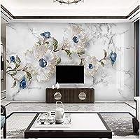 Xbwy 花の大理石の壁紙の居間の背景の壁の贅沢な装飾-250X175Cm