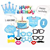 Losuya Baby Boy 1st誕生日ベビーシャワーパーティー写真ブース小道具フォトブース小道具ブルーキット25個口ひげケーキHappy誕生日パーティー装飾Favor