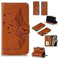 小米科技ミ9 SEのために財布&ホルダー&カードスロット付きフェザー柄ライチテクスチャ水平フリップレザーケース brand:TONWIN (Color : Brown)