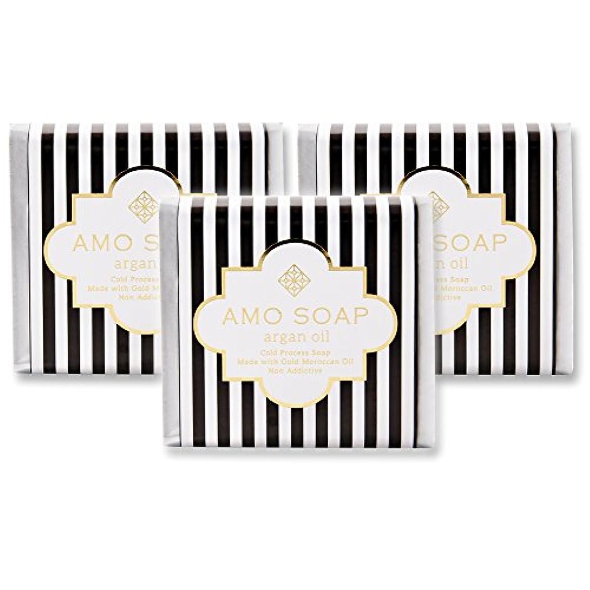 自明慢あいさつAMO SOAP(アモソープ) 洗顔せっけんアルガンオイル配合 3個 コールドプロセス製法 日本製 エイジングケア オリーブオイル シアバター