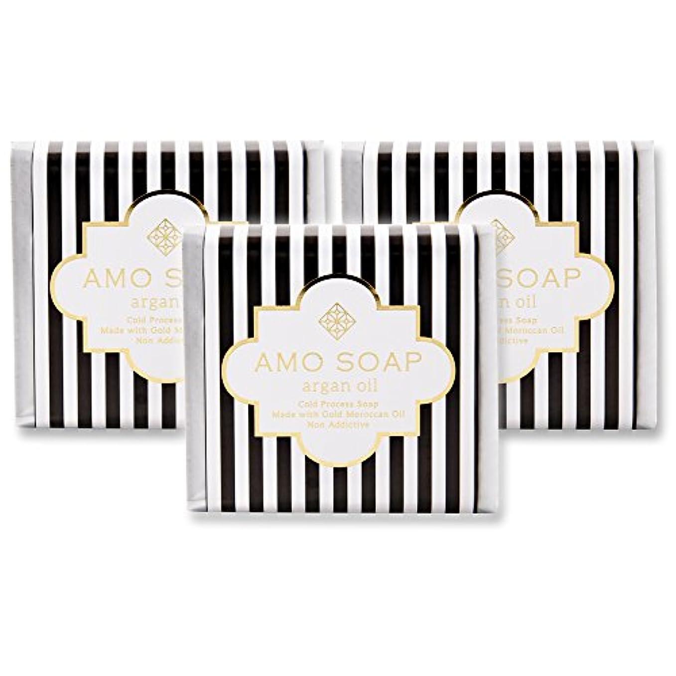 バン櫛博覧会AMO SOAP(アモソープ) 洗顔せっけんアルガンオイル配合 3個 コールドプロセス製法 日本製 エイジングケア オリーブオイル シアバター