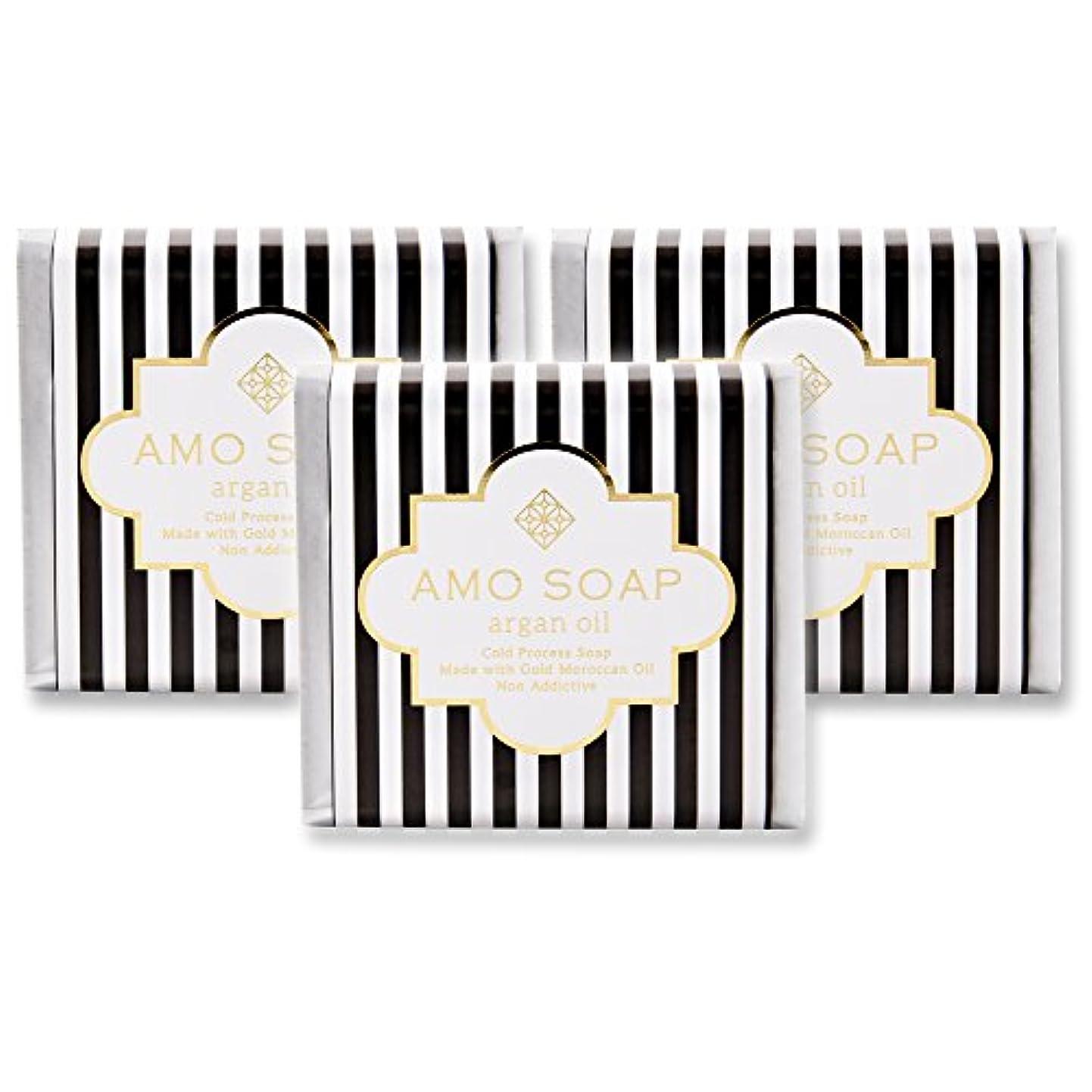 スーパー孤独記念碑AMO SOAP(アモソープ) 洗顔せっけんアルガンオイル配合 3個 コールドプロセス製法 日本製 エイジングケア オリーブオイル シアバター
