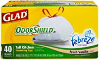 Gladtall Kitchen Trash Bags With Drawstring, Vanilla Scent Odor Shield, 13 Gallon, 40-Count Boxes by Glad