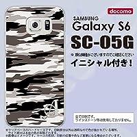 SC05G スマホケース Galaxy S6 カバー ギャラクシー S6 イニシャル 迷彩B グレーA nk-sc05g-1160ini W