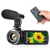 ビデオカメラ デジタルカメラ カムコーダーYISENCE フルHD1080P 一時停止機能 外付けマイク リモコン付属