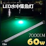 LED 水中集魚灯 12V専用 60w 7000lm【緑 グリーン】集魚灯 集魚ライト 水中ライト
