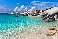 3x2m 青い海の撮影は背景の布を使います 白い雲の砂浜の写真の背景の布