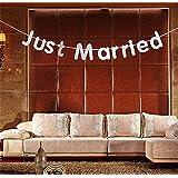 Heyuni. JUST MARRIED カード リボン 結婚式 バナー ガーランド 写真の小道具 装飾 耐久性