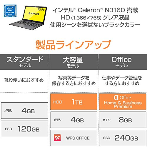mouse ノートパソコン MB-BN26C41WP-ZBA/Celeron N3160/4GB/1TB/WPS