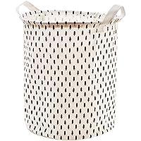ランドリーバスケットコットンリネン布折り畳み式汚れたハンパーラウンド大型収納バスケット白、35 * 40cm (色 : C)