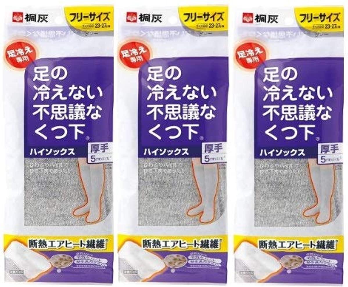 一元化する伝統ループ【まとめ買い】桐灰化学 足の冷えない不思議なくつ下 ハイソックス 厚手 足冷え専用 フリーサイズ グレー 1足分(2個入) ×3個セット