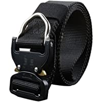 Lihaer Men's Elastic Breathable Canvas Belt Military Tactical Gear Durable Outdoor Sports Waist Belts